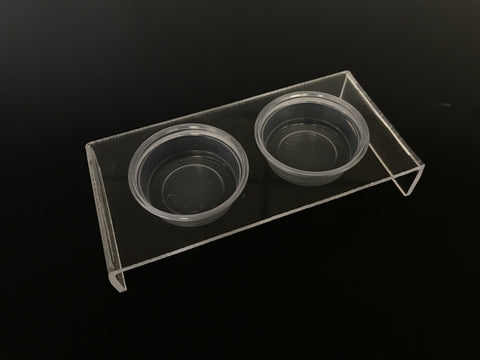 Acrylic Food Dish Stand - Small Dual Cup