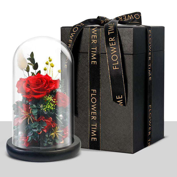 Eternal Preserved Rose in Luxury Glass Dome - Funy Flower