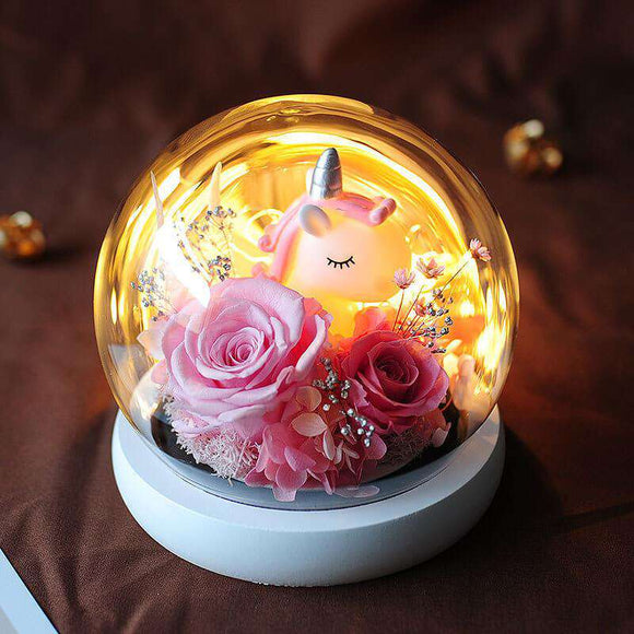 Real Rose Preserved in Crystal Glass Dome With Lights - funyflower