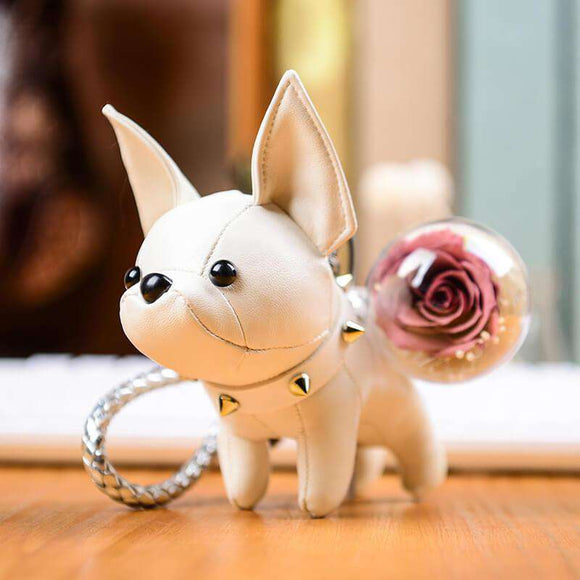 Light Purple Preserved Roses Keychain - White Bulldog Keychain - funyflower