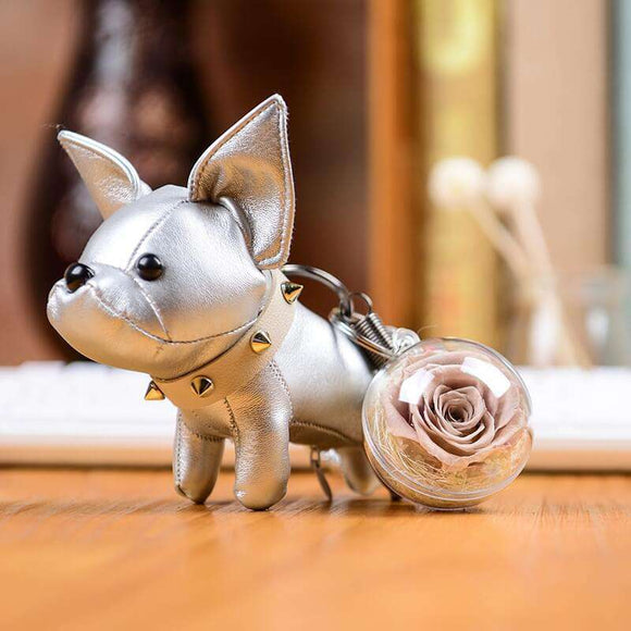 Light Purple Preserved Roses Keychain - Silver Leather Bulldog Keychain - Funy Flower