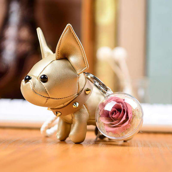Light Purple Preserved Roses Keychain - Gold Leather Bulldog Keychain - funyflower