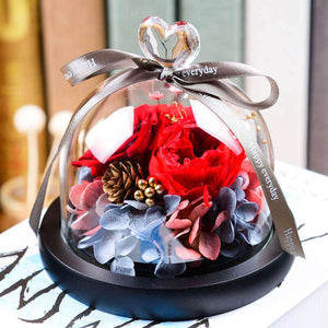 Preserved rose in glass dome - funyflower