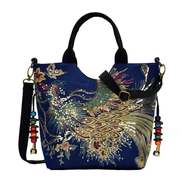 Women Phoenix Embroidery Handbag Totes - Funy Flower