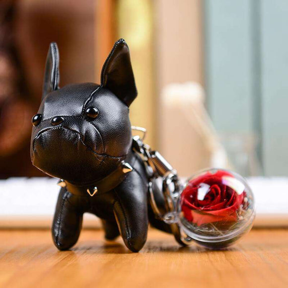 Red Preserved Roses Keychain - Black Leather Bulldog Keychain - Funy Flower