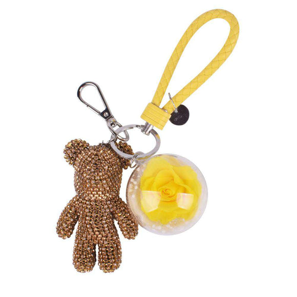 Yellow Preserved Rose | Gold Crystal Rose Bear Keychain - Funy Flower