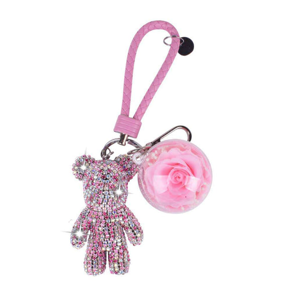 Pink Preserved Rose | Pink Crystal Rose Bear Keychain - Funy Flower