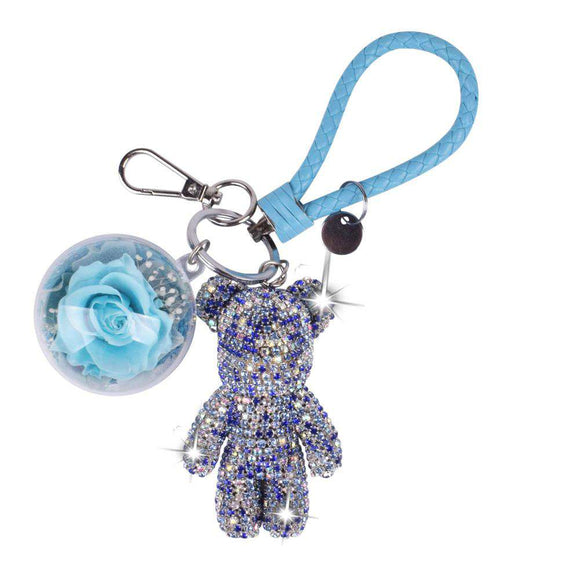 Tiffany Blue Preserved Rose | Blue Crystal Rose Bear Keychain - Funy Flower