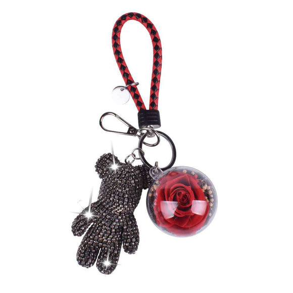 Red Preserved Rose | Black Crystal Rose Bear Keychain - funyflower