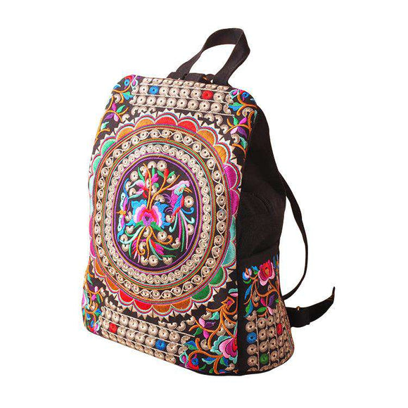 Women Canvas Backpack With Flower Embroidered - Funy Flower