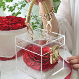 Preserved Rose In Acrylic Box - Funy Flower