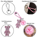 Pink Preserved Rose | Pink Crystal Rose Bear Keychain - funyflower