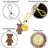 Yellow Preserved Rose | Gold Crystal Rose Bear Keychain - funyflower