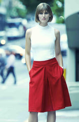Paint it Red Wool Skirt