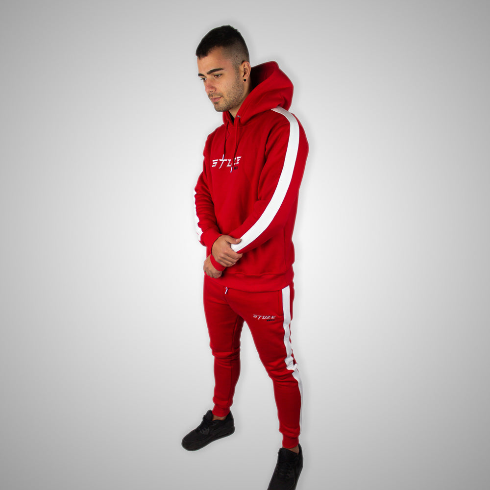 Stuze Unisex Striped Hoodie - (Red) - Stuze