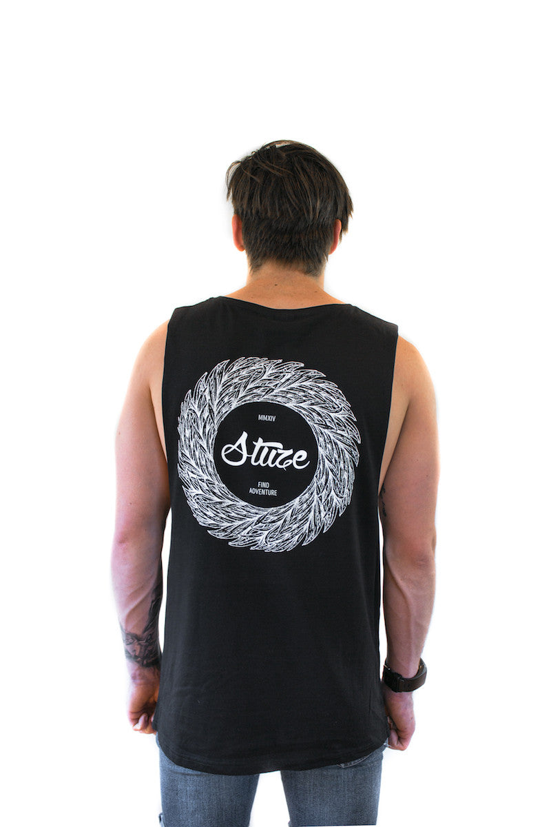 Wreath Muscle Tee (Black) - Stuze