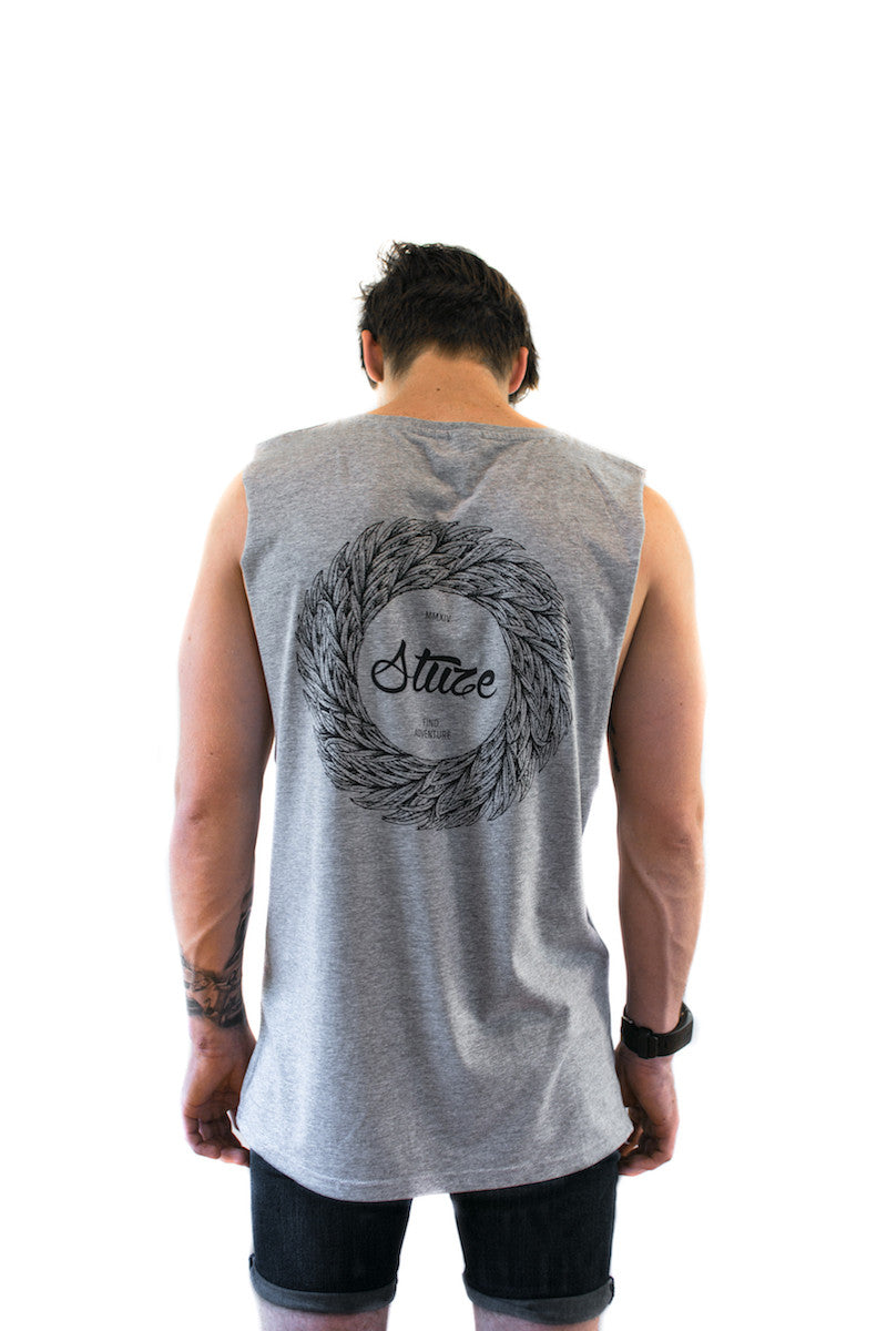 Wreath Muscle Tee (Grey) - Stuze