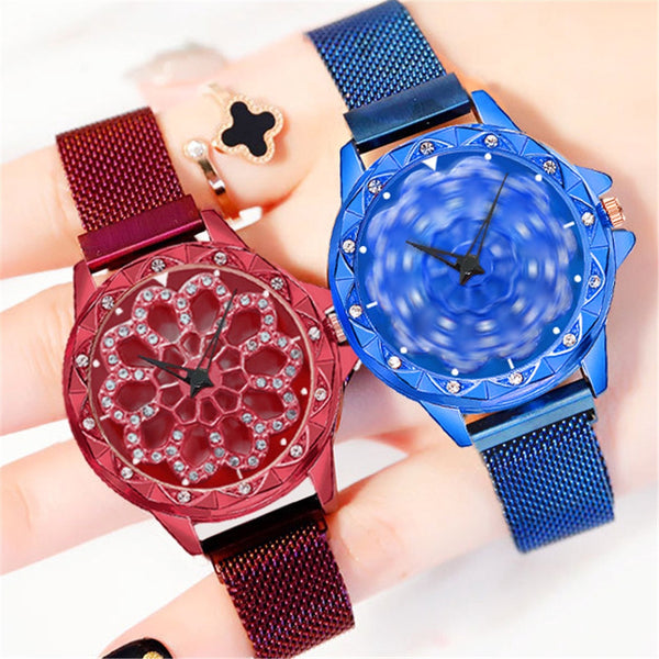 Lance Beautiful Temperament Fashion Female New Suction Stone Hollow Vase Rotating Watch