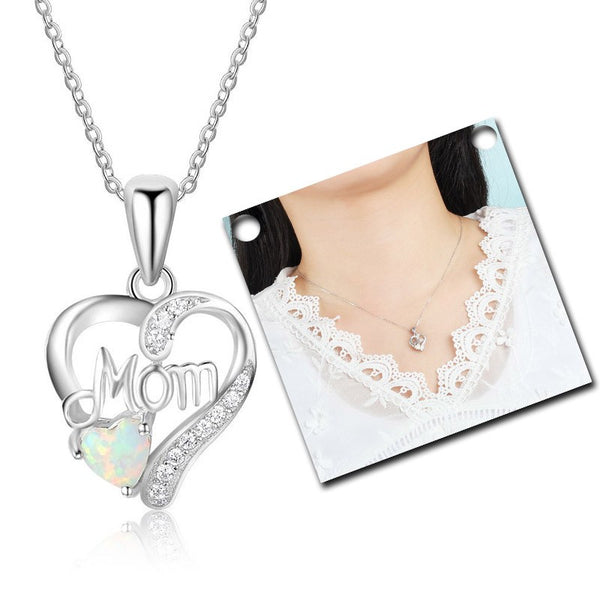 Lance Mother's Day Gift Mother Necklace Inlaid With Treasure Heart Pendant