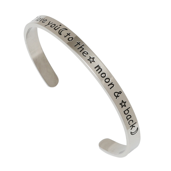 Lance Europe And America I Love You To The Moon And Back Engraved Open-ended Bracelet Popular