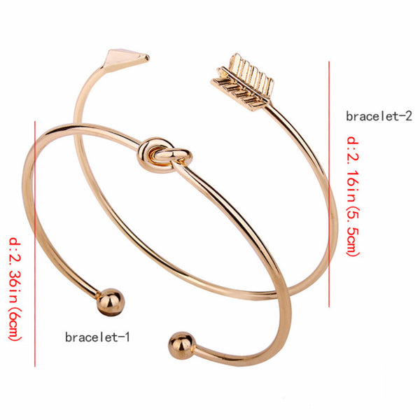 LANCE Korea Fashion Women's Arrows Knot Bracelet Two Pieces/SET