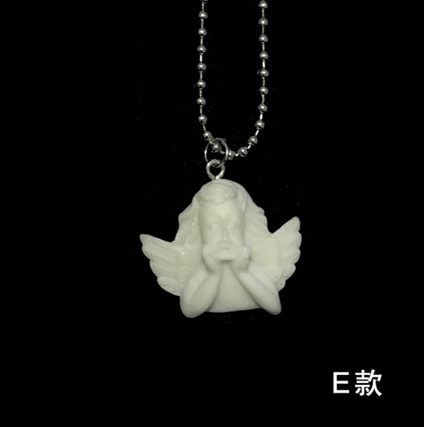 Lance Retro Creative Cute Long Pendant Angel Cupid Resin Bead String Couple Necklace Jewelry