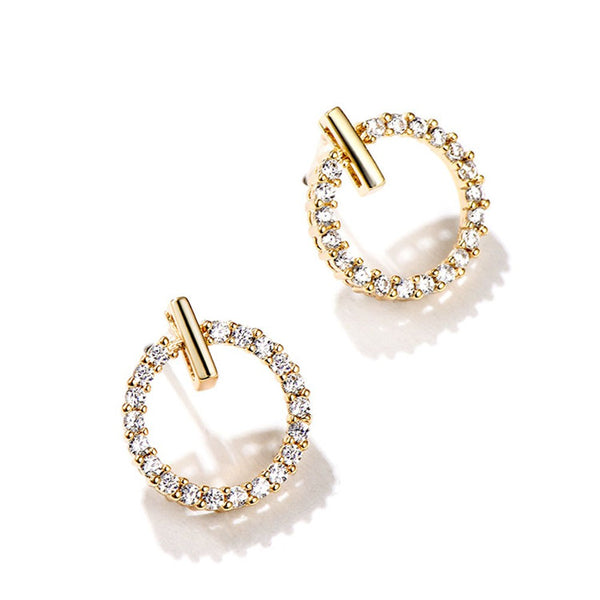 Lance Korean Mini Circle Crystal Earrings Dangle Girls Needle Ear Studs
