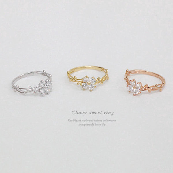 Lance Ready Stock Simple Casual Crystal Clover Zircon Diamond Ring Women Girl Accessories