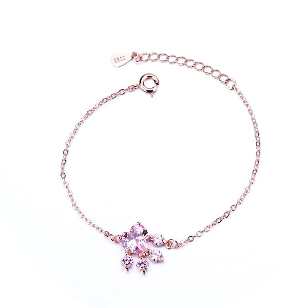 Lance Best Selling Pink Diamond Footprint Bracelet European And American Rose Gold-Plated Hand Jewelry