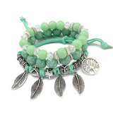 Lance Wholesale Retro Life Leaf Multi-layer Handmade Glass Bead Bracelet