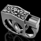Lance Europe And American Fashion Fashion Punk Style Skull Men's Ring Secret Compartment Coffin Viking Ring