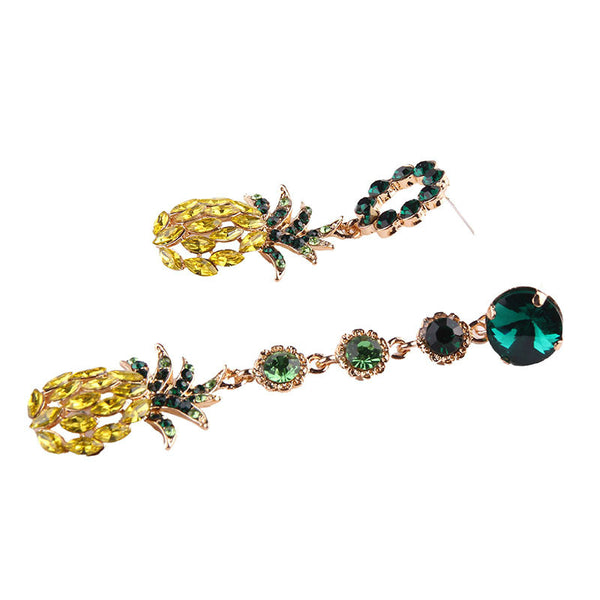 Lance Bright Zircon Pineapple Earrings Boucle d'oreille en pierres précieuses