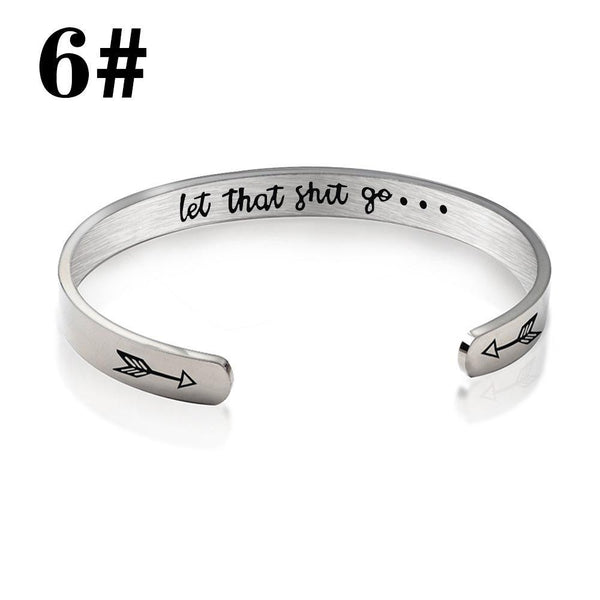 Lance Inspirational Bracelets for Women Engraved Personalized Mantra Cuff Bangle