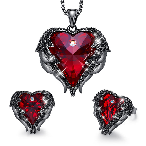 Lance Angel Wing Heart Necklaces and Earrings Embellished with Crystals 18K White Gold Plated Jewelry Set for Women