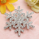 Lance Wedding Bridal Brooch Pin Crystal Rhinestone Large Snowflake Winter Snow