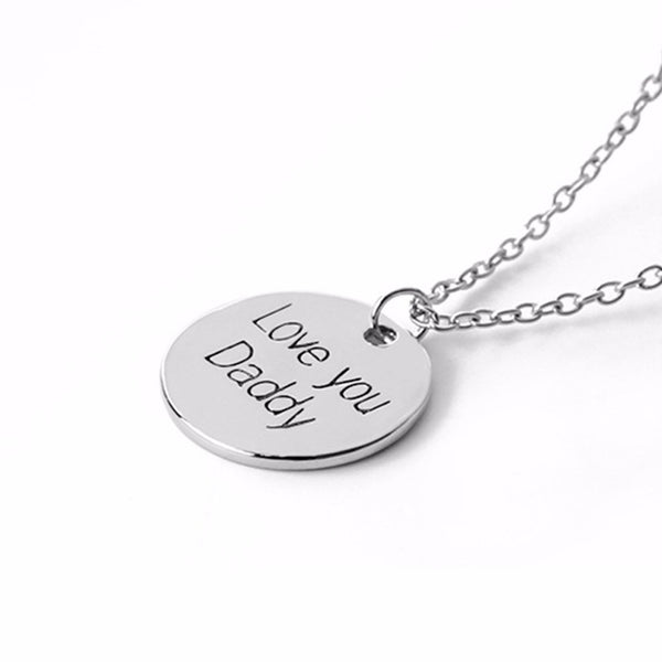 Lance Round Love You Daddy Pendant Necklace Fashion Jewelry Father's Day Gift