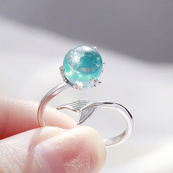 Lance Hot Selling Mermaid Bubble S925 Blue Crystal Tail Ring