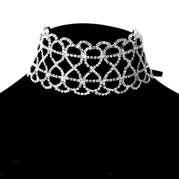 Lance Women Fashion Jewelry Rhinestone Flower Choker Necklace Charming Clavicle Chain