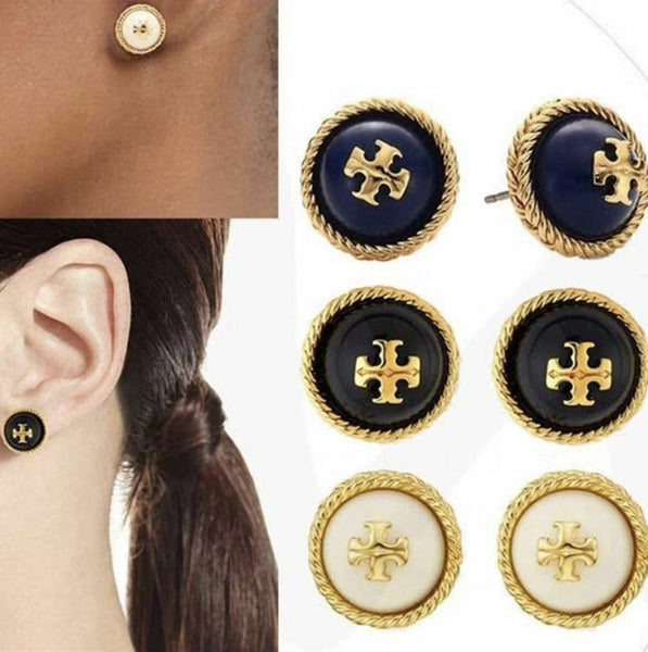 Lance Tory Burch Rope Logo Studs Earrings Gold Tone BLUE NEW