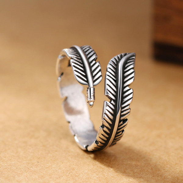 Lance Retro Feather Ring Sterling Silver Ring