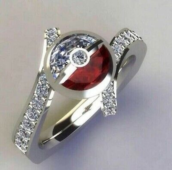 Lance Fashion Pokemon White Sapphire Ruby 925 Silver Ring Engagement Jewelry Gifts