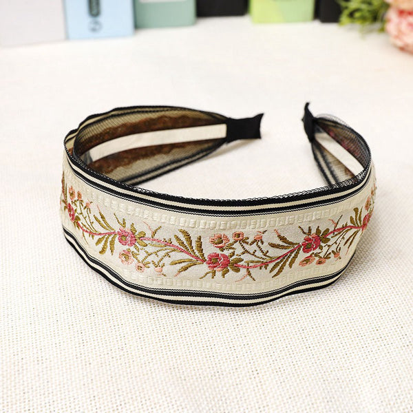 Lance Sweet Beauty Female Retro Embroidery Flower Headband European And American Hair Accessories