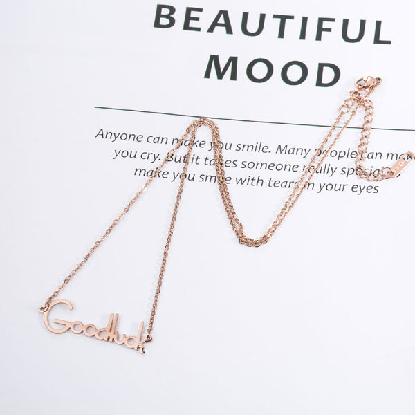 Lance wholesale titanium steel rose gold Goodluck clavicle chain necklace
