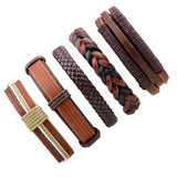 Lance wholesale five-pc leather brown series cowhide men bracelet