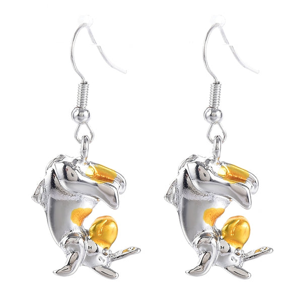 Lance Two Tone Eeyore Donkey Drop Earrings Women 925 Silver Jewelry A Pair/set