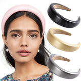 Lance Europe and the United States PU Leather Thick Sponge Headband Wide Retro Fashion Hair Band Headwear