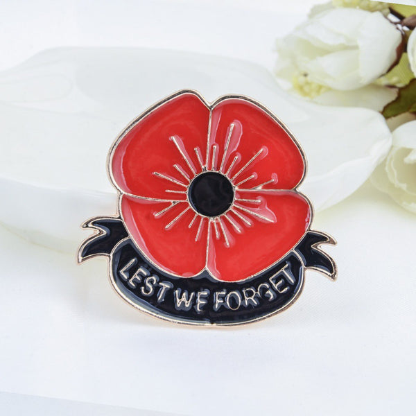 Lance Enamel Remembrance Brooch Red Poppy Flower Lapel Pin Broach Badge Banquet Gifts