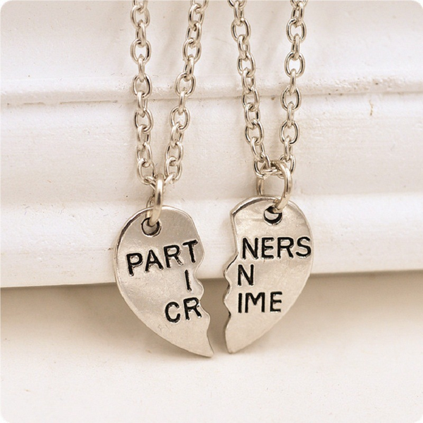 Lance Romantic Valentine's Day Gift PARTNERS IN CRIME Couple Necklace