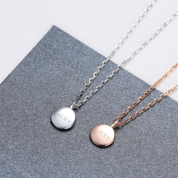 Lance Fashion Lucky Letter Sculpture Clavicle Chain Beans Pendant Drop Short Necklace Women