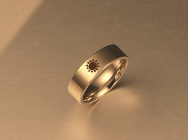 Lance Fashion Moon Star Sun Titanium Steel Couple Ring